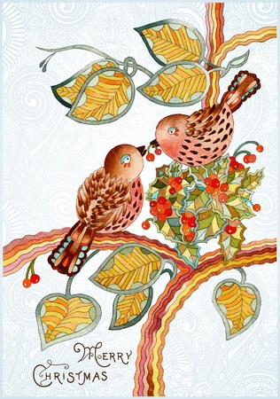 Ornate vintage watercolor christmas card with bird  Vector