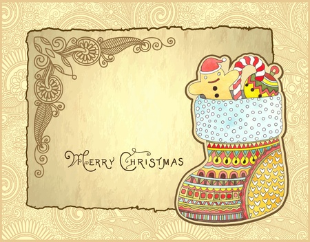 christmas watercolor: christmas background with hand draw ornate gift christmas watercolor sock