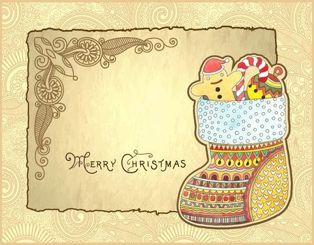 christmas sock: christmas background with hand draw ornate gift christmas watercolor sock