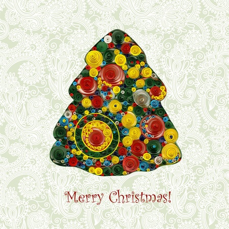 Christmas tree in ornamental background  Vector