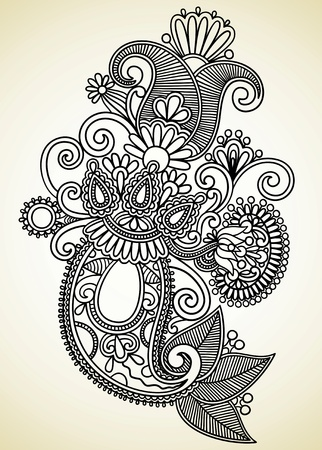 Hand draw line art ornate flower design. Ukrainian traditional style.  Stock Vector - 11638955