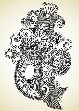 hindi: Mano draw line art ornate di fiori design. Ucraina stile tradizionale.