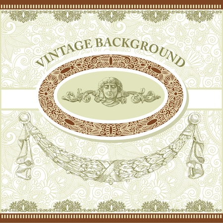 aristocrat: Vintage template with floral background  Illustration