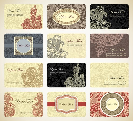 Various vintage ornamental business card collection  Stock Vector - 11638996