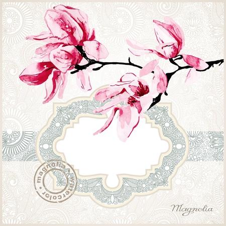 fragility: magnolia watercolor frame  Illustration