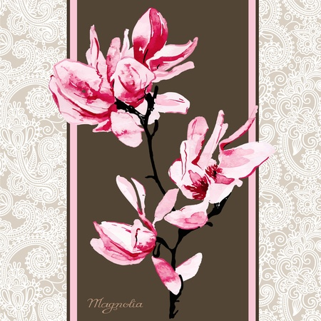 magnolia watercolor pattern  Vector