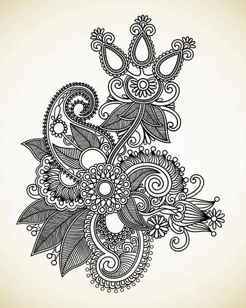 Dibujar a mano la línea de arte del diseño de flores ornamentales. Estilo tradicional ucraniana. Ilustración de vector
