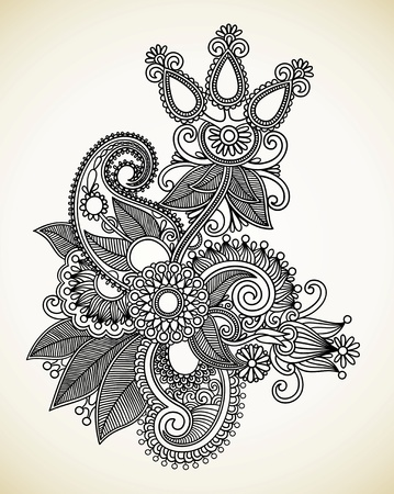 Dibujar a mano la línea de arte del diseño de flores ornamentales. Estilo tradicional ucraniana.