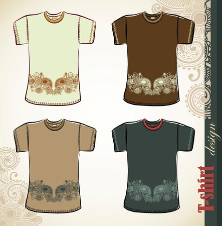 t shirt print: t-shirt flower ethnic design templates Illustration