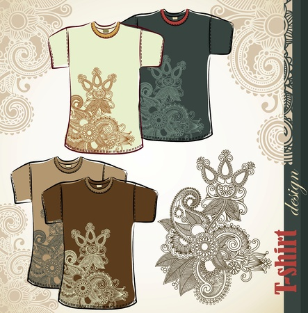 shirt design: t-shirt flower ethnic design templates Illustration