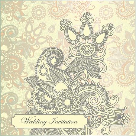 marriage ceremony: Vector ornate frame wedding invitation