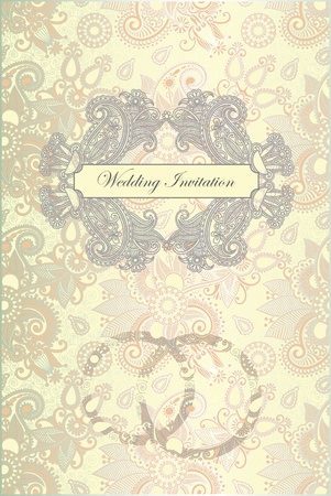 Vector ornate frame wedding invitation  Vector