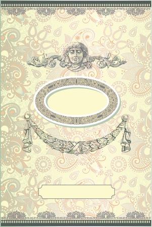 cartoline vittoriane: Modello vintage con sfondo floreale Vettoriali