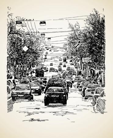 hand draw line art city traffic composition