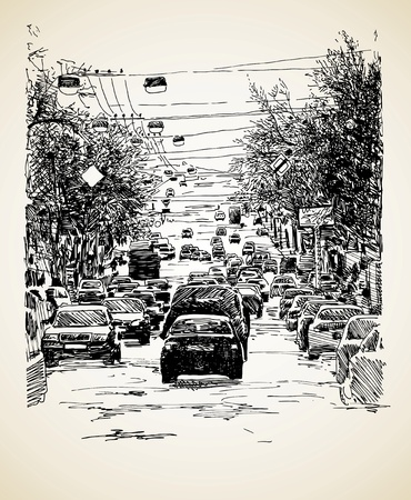 busy: hand draw line art city traffic composition