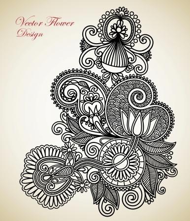 Hand draw line art ornate flower design. Ukrainian traditional style.