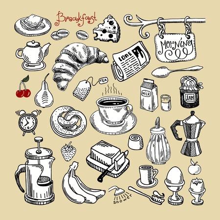 pan con mantequilla: Dibujar a mano dibujo por la ma�ana el desayuno conjunto
