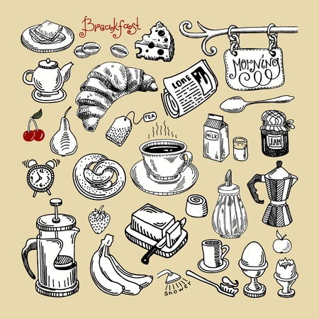 hand draw sketch morning breakfast set  Vector