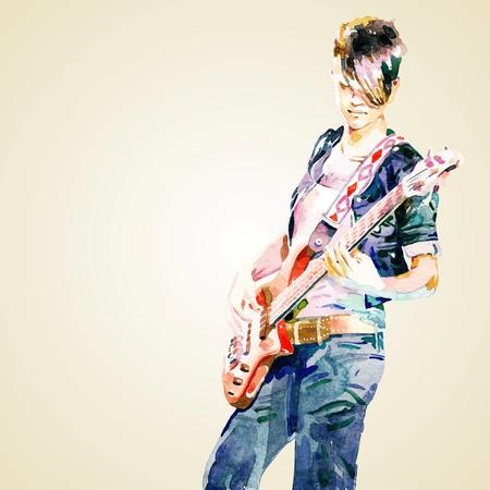 guitariste: adolescente jouant de la guitare. Peinture � l'aquarelle, illustration vectorielle Illustration