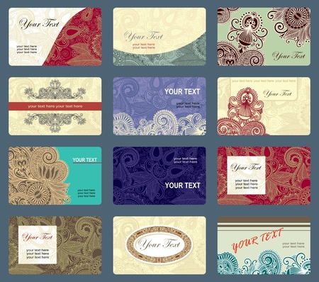 Various vintage ornamental business card collection  Vector