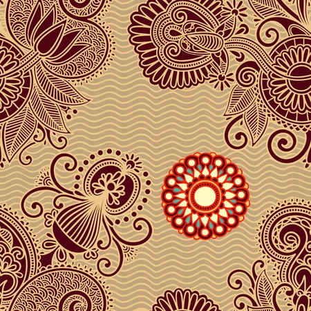 seamless flower paisley design background Stock Vector - 11638876