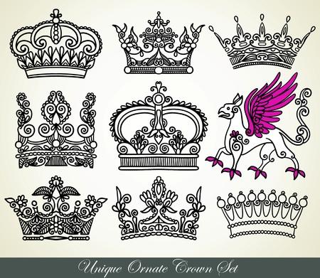 blasone: unico set ornamentale corona araldica