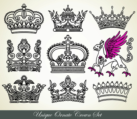 unique ornamental heraldic crown set  Stock Vector - 11638879