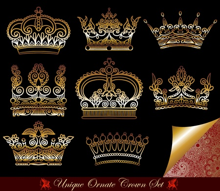 royalty: unique ornamental heraldic crown set  Illustration