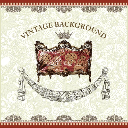 vintage background with antique sketch armchair  Vector