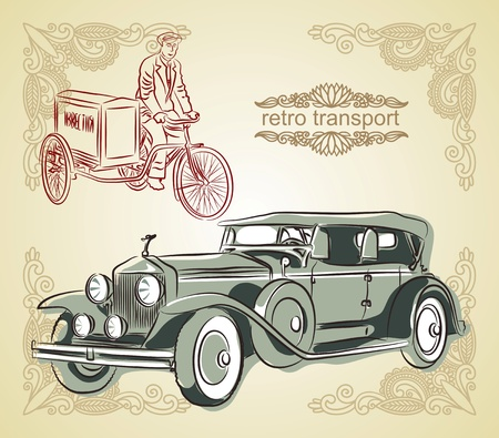 Retro transport, vector illustration  Stock Vector - 11638877