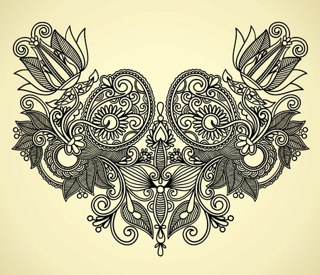 Neckline embroidery fashion Stock Vector - 11638883