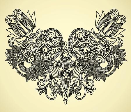 flore: Neckline embroidery fashion