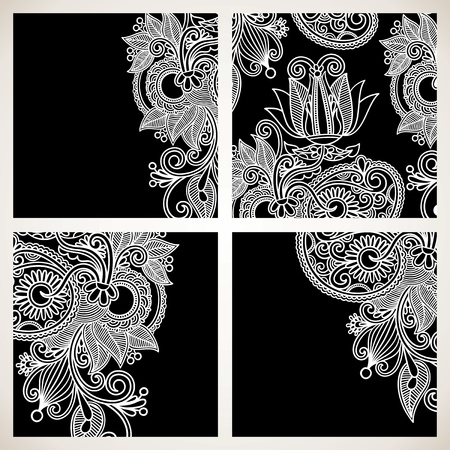 flower decoration: set of black and white floral pattern