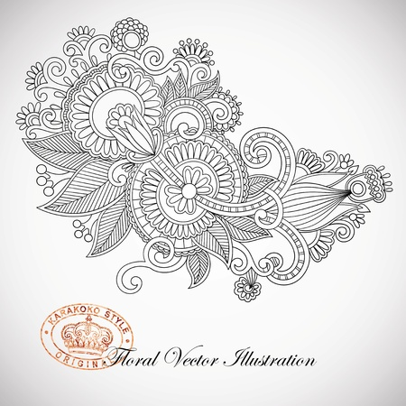 ukrainian: Hand draw line art ornate flower design  Ukrainian traditional style