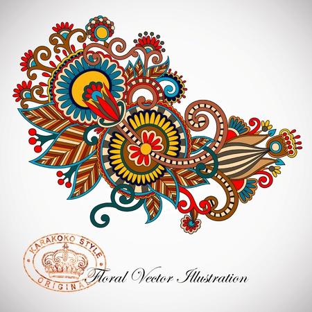 Hand draw line art ornate flower design  Ukrainian traditional style Vector