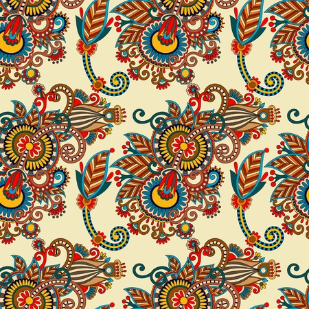 seamless flower paisley design background. Ukrainian traditional pattern  Vector