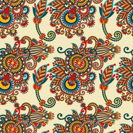 seamless flower paisley design background. Ukrainian traditional pattern  Vector