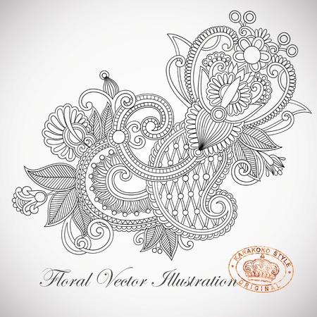 hindi: Mano draw line art design in stile ornato floreale ucraina tradizionale
