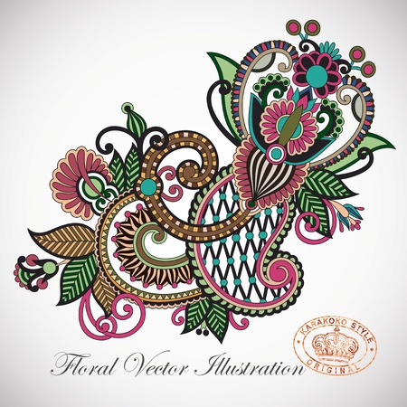 embellishments: Hand draw line art ornate flower design  Ukrainian traditional style