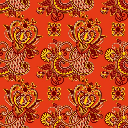 seamless flower paisley design background. Ukrainian traditional pattern  Stock Vector - 11639036
