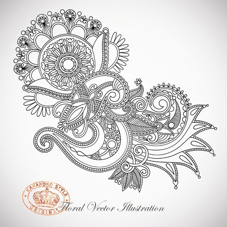 indium: Hand draw line art ornate flower design  Ukrainian traditional style