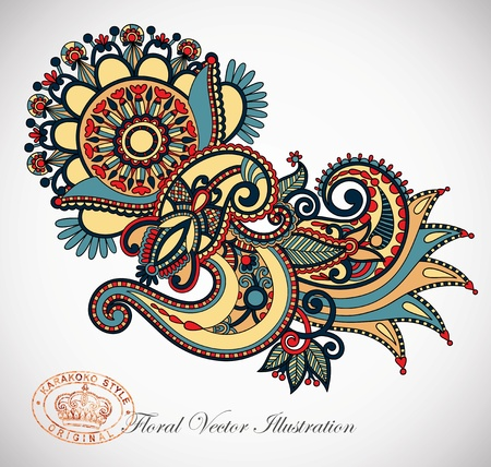 Hand draw line art ornate flower design  Ukrainian traditional style  Stock Vector - 13753693