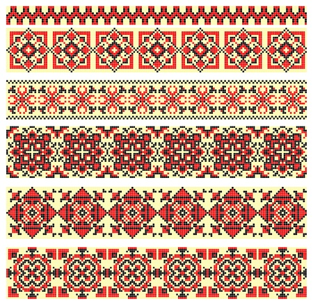bordado a mano, como un buen punto de cruz étnica patrón de Ucrania Ilustración de vector