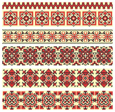 punto cruz: bordado a mano, como un buen punto de cruz étnica patrón de Ucrania