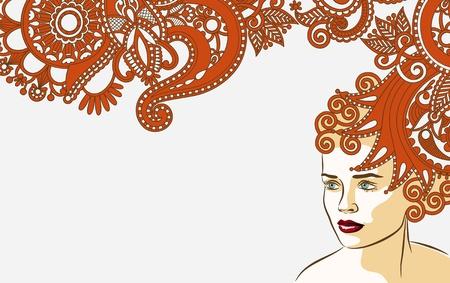 visage: la mujer con la fantas�a floral de fondo a largo peinado del cabello Vectores