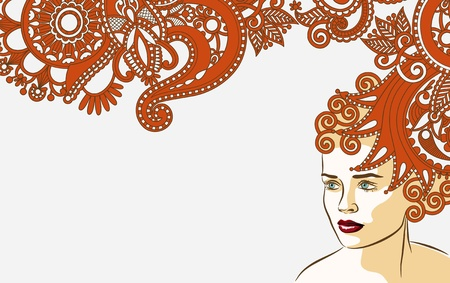 woman with fantasy floral long hair coiffure background  Vector