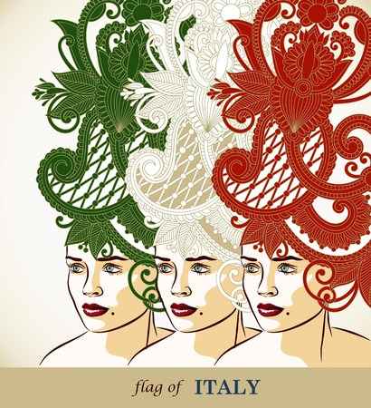 three women hairstyle - flag of Italy Vector