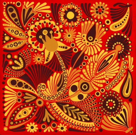 ukrainian traditional: hand draw acrylic painting flower vector ethnic design. Ukrainian traditional painting