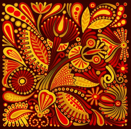 whimsical: hand draw acrylic painting flower vector ethnic design. Ukrainian traditional painting