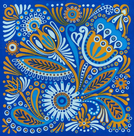 folk art: hand draw acrylic painting flower vector ethnic design. Ukrainian traditional painting